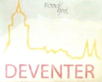 Autosticker logo Deventer rood/geel