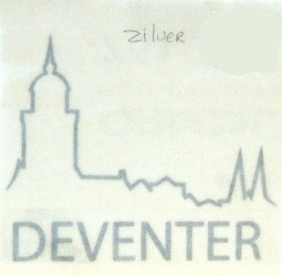 Autosticker logo Deventer zilver