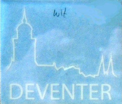 Sticker logo Deventer wit groot