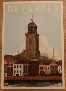 Vintage Stads Poster A4 Lebuinuskerk