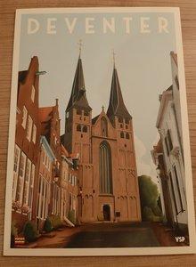 Vintage Stads Poster A4 Bergkerk