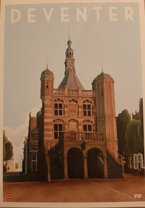Vintage Stads Poster A4 Waag